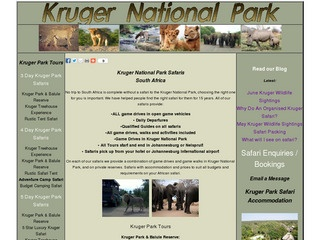 Kruger National Park safari Information